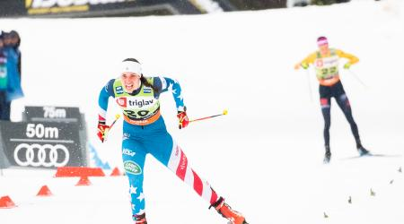 Julia Kern scored her first career World Cup podium, finishing third, at the FIS Cross-Country World Cup Planica, Slovenia, on December 21, 2019. (Getty Image/Nordic Focus - Federico Modica)